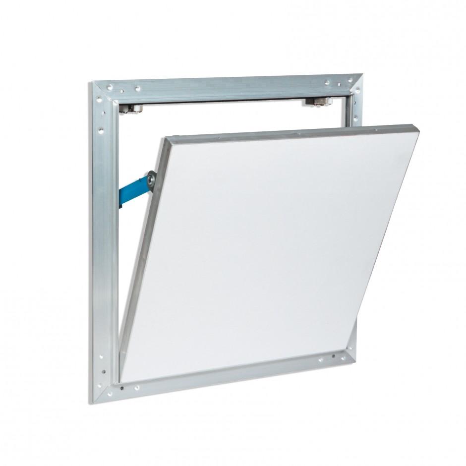 ALUMINIUM AND WATER-REPELLENT PLASTERBOARD TRAP DOOR
