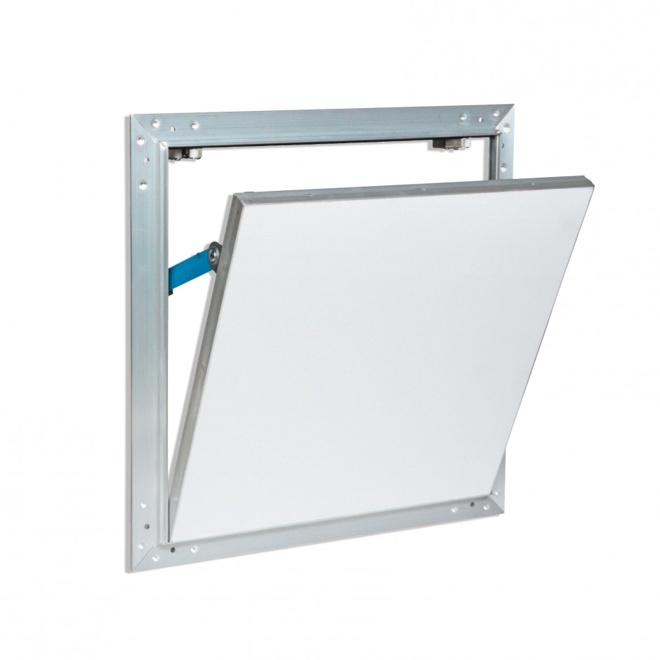 ALUMINIUM AND WATER-REPELLENT PLASTERBOARD TRAP DOOR